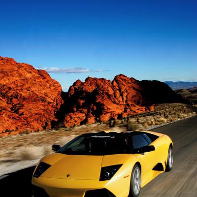 Lamborghini at Red Rock Nat'l Park, NV shot with a gyro